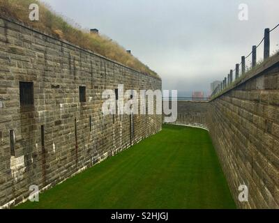 Halifax citadel on a misty day - Stock Image