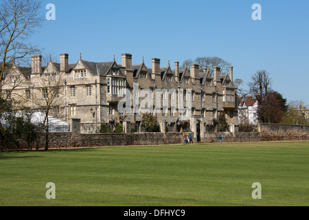 Merton College, Oxford University, Oxfordshire, UK. View Along Dead Man's Walk from Merton Playing Field. - Stock Image