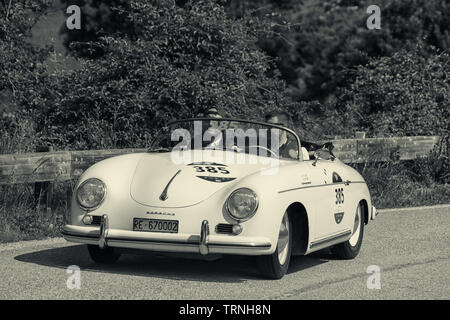 PORSCHE 356 1500 SPEEDSTER 1955 on an old racing car in rally Mille Miglia 2018 the famous italian historical race (1927-1957) - Stock Image