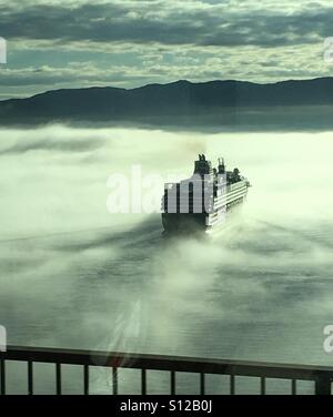 Cruise ferry in the mist - Stock Image