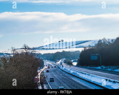 A snowy winter's day along the M4 in Wiltshire. - Stock Image