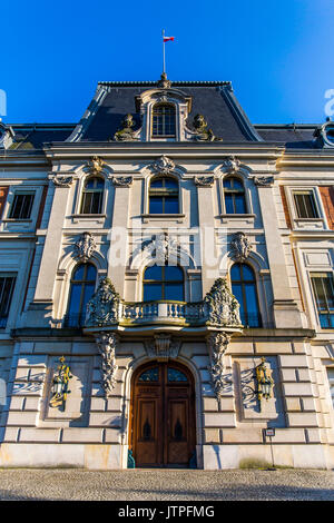 Front of the Pszczyna castle - classical-style palace in Poland. - Stock Image