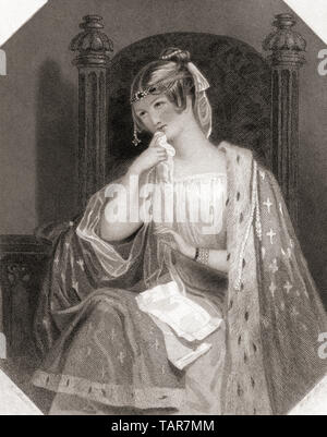Cordelia.  Principal female character from Shakespeare's play King Lear.  From Shakespeare Gallery, published c.1840. - Stock Image