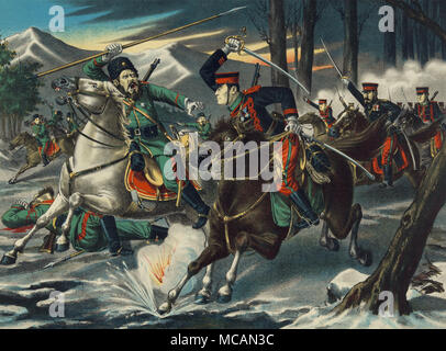 Japanese and Russian cavalry troops clash near Ch?nju, North P?y?ngan Province, Korea] - Stock Image