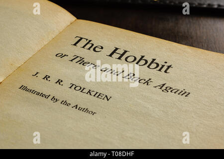 A vintage paperback edition title page of The Hobbit written by J.R.R. Tolkien in 1937 a classic childrens story - Stock Image