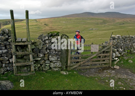 Cyclist at a fence during Mountain Bike trip in Yorkshire Dales, Great Britain - Stock Image