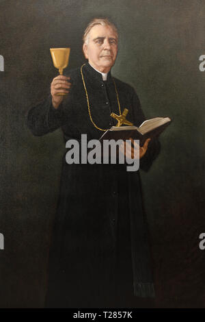 Painting of Venerable John Merlini priest in the order of Missionaries of the Precious Blood Roman Catholic - Stock Image