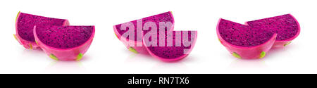 Isolated dragonfruits. Three images of red-fleshed pitaya fruit slices isolated on white background with clipping path - Stock Image