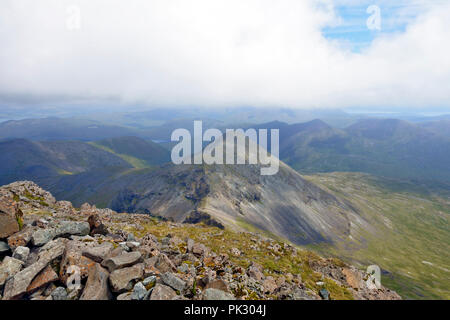 View from the summit (966m) of Ben More, Mull towards A'Chioch which is east north east of Ben More top, - Stock Image