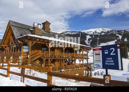 Resort Lodge and Bus Stop at World Famous Ski Area at Lake Louise, a site of Alpine Men and Women World Cup Downhill Event in Alberta Canada - Stock Image