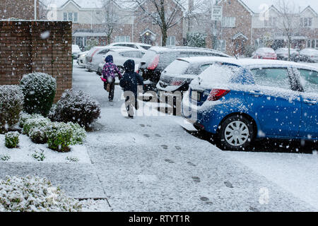 Celbridge, Kildare, Ireland. 3rd March 2019: Weather news. Exactly a year after beast from the east struck Ireland, an unexpected heavy snow fall passes through Celbridge Kildare. Kids having the most of it making snowman and enjoying playing in snow. Credit: Michael Grubka/Alamy Live News - Stock Image