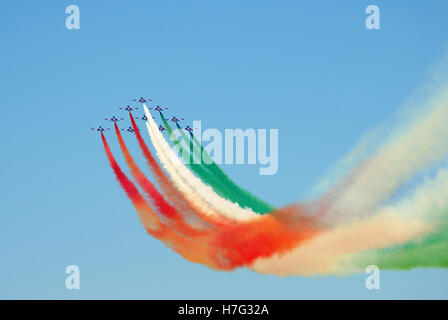 rimini, italy, september 9: italian frecce tricolore during 'flying days' airshow on september 9, 2012, - Stock Image