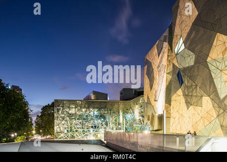 Melbourne night architecture and lcity landscape. - Stock Image