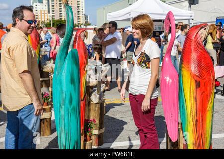 Fort Lauderdale Ft. Florida Las Olas Boulevard Las Olas Art Fair festival street fair community event sculpture wood carving bir - Stock Image