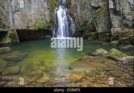 Full view of catrigg falls and the lower waters - Stock Image