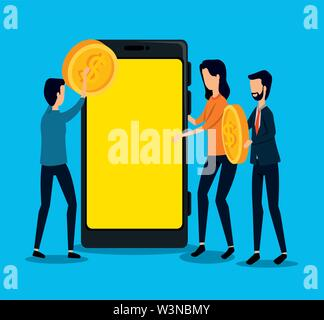 businessmen and businesswoman teamwork with coin and smartphone - Stock Image