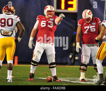December 19, 2015. Michael Deiter #63 of Wisconsin in action during the 2015 National Education Holiday Bowl between - Stock Image