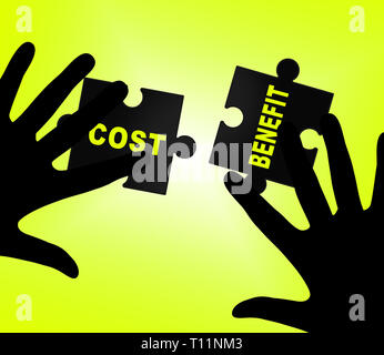 Cost Vs Benefit Jigsaw Means Comparing Price Against Value. Return On Investment Or Balancing Gain - 3d Illustration - Stock Image