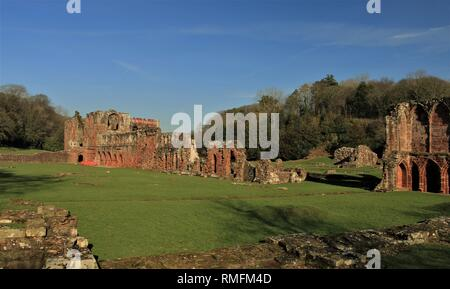 Cumbria, UK. 15th February 2019. UK Weather. Sunshine from Furness Abbey Cumbria. Credit C.Hall / Alamy Live News. - Stock Image