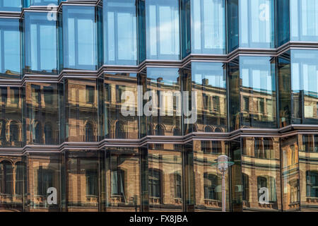 Modern Architecture, Dorotheen Street 97, Reflection , Berlin Mitte, Germany - Stock Image