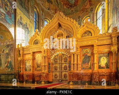 18 September 2018: St Petersburg, Russia - The ornate golden iconostasis or altar screen, Church of the Saviour on Spilled Blood - Stock Image