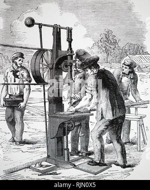 Illustration showing Nasmyth's drilling machine, used to perforate iron bars to take rivets during the construction of the Crystal Palace. 1850 - Stock Image