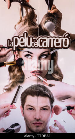 Attractive lady with makeup brushes on face is an advertisement for hair dressing - Stock Image