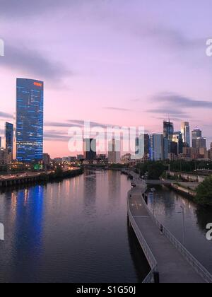 Schuylkill River Trail and Philadelphia Skyline, Pennsylvania - Stock Image
