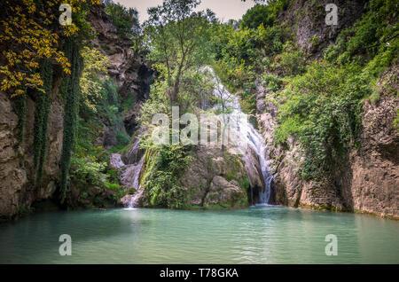 Kaya Bunar Waterfall, Bulgaria. It is located in Hotnitsa Canyon on Bohot river - Stock Image