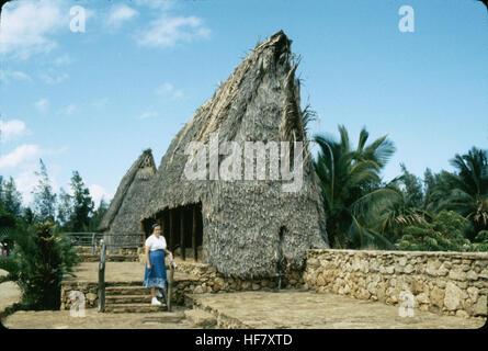 Houses of the Marquesas; Polynesian Center, Oahu, Hawaii. - Stock Image