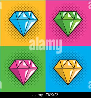 diamond over dots backgrounds pop art comic cartoon vector illustration - Stock Image