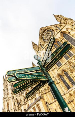 York City UK, York signpost, York City signpost, York Minster UK, York City Yorkshire UK England, York Minster, York directions signpost, York sign, - Stock Image
