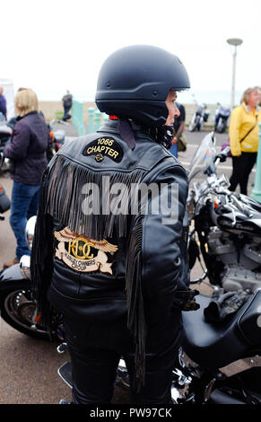 Brighton UK 14th October 2018 - Thousands of bikers and custom car enthusiasts enjoy this years Brightona Motorcycle event along Madeira Drive on Brighton seafront raising money for the Sussex Heart Charity Credit: Simon Dack/Alamy Live News - Stock Image