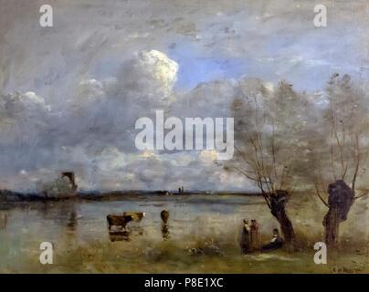 Noonday, Camille Corot, 1860's, Isabella Stewart Gardner Museum, Boston, Mass, Massachusetts, North America, US, USA - Stock Image