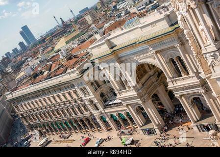 Horizontal aerial view of Galleria Vittorio Emanuele II shopping centre in Milan, Italy. - Stock Image