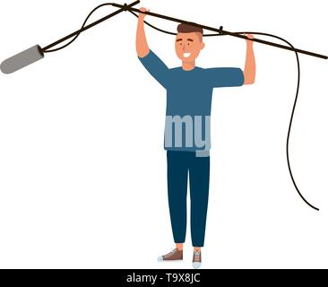 Man and microphone design, News media communication journalism information broadcasting and digital theme Vector illustration - Stock Image
