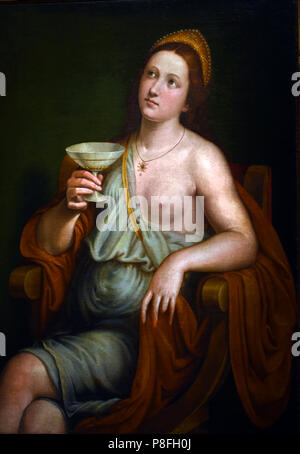 Sophonisba Drinking the Poison by Giovanni Francesco Caroto (1480 – 1555 or 1558) Italian Italy ( Sophonisba 203 BC was a Carthaginian noblewoman who lived in the Second Punic War, and the daughter of Hasdrubal Gisco Gisgonis, Sophonisba poisoned herself rather than humiliated in a Roman triumph. ) - Stock Image