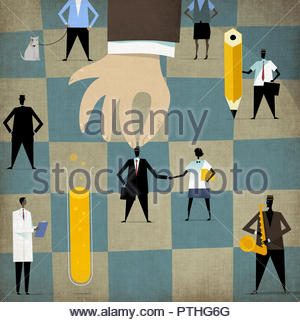 Large hand choosing businessman from chess board - Stock Image