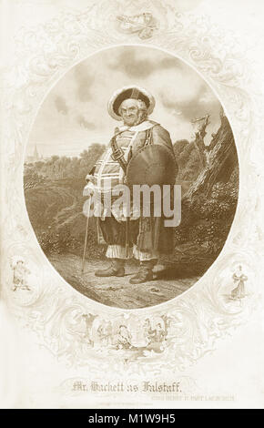 Engraving of the Shakespearean character Falstaff, acted by an American, Mr Hackett in King Henry IV. From the Illustrated - Stock Image