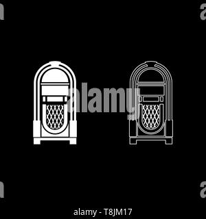 Jukebox Juke box automated retro music concept vintage playing device icon outline set white color vector illustration flat style simple image - Stock Image