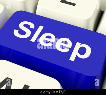 Sleep Computer Key Shows Insomnia Or Sleeping Disorders Online - Stock Image