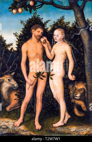 Lucas Cranach the Elder, Adam and Eve in paradise (The Fall), painting, 1533 - Stock Image