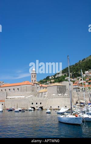 Pleasure boats moored in Dubrovnik harbour Pleasure boat yacht moored Dubrovnik harbour harbor city boat Croatia Europe European - Stock Image