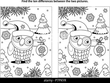 Winter holidays themed find the ten differences picture puzzle and coloring page with owl wearing santa cap and holding beautiful ornament. - Stock Image