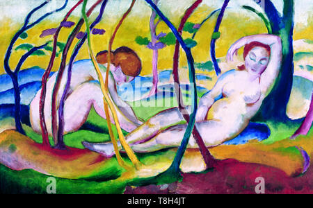 Franz Marc, Nudes under Trees, painting, 1911 - Stock Image