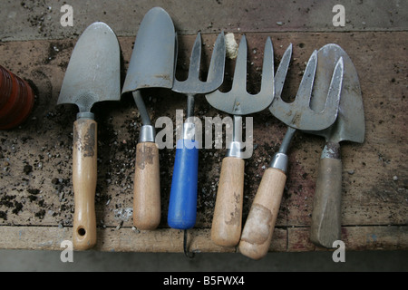 A stock photograph of gardening tools in a potting shed - Stock Image