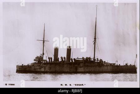 HMS Edgar, British Edgar class cruiser. - Stock Image