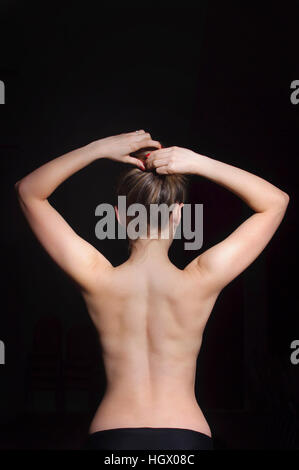 Close-up of naked woman's back - Stock Image