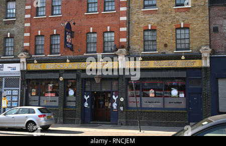 Tottenham London UK - The Bricklayers Arms pub used by Spurs fans for home supporters only in Tottenham High Road  Photograph taken by Simon Dack - Stock Image