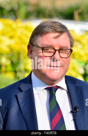 Mark Francois MP (Con: Rayleigh and Wickford) on College Green, Westminster, 13 March 2019 - Stock Image